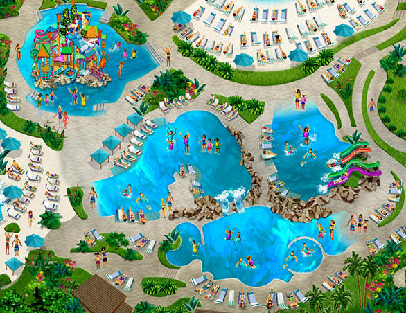 Concept art of the Walkabout Waters and Whanua Waters pools at SeaWorld San Antonio.