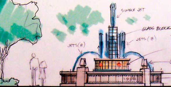 A pencil sketch shows a fountain envisioned for the remade Buena Vista Street at Disney California Adventure.