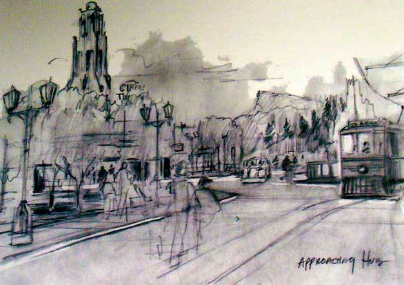 A pencil sketch of Buena Vista Street at Disney California Adventure shows the Carthay Circle Theatre and a Red Car Trolley.