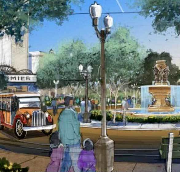 Concept art for Buena Vista Street at Disney California shows visitors traveling on period vehicles around a central hub.
