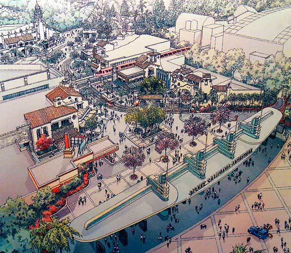 An overview of Disney California Adventure's main entrance shows the complete vision for a remade Buena Vista Street.