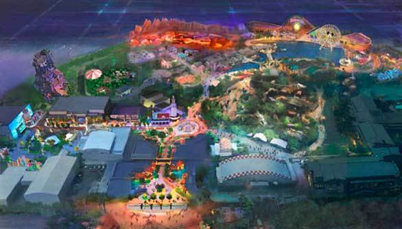 A bird's eye view of Disney California Adventure including a remade Buena Vista Street.