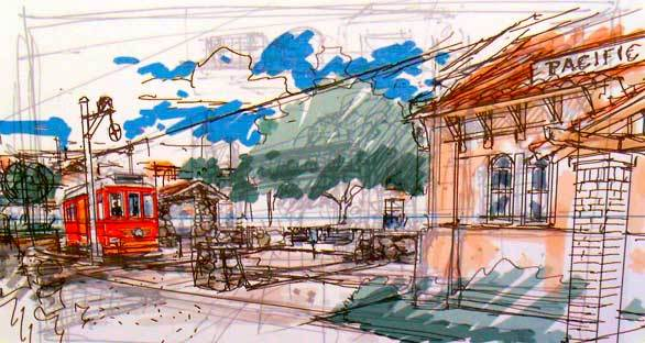 A pencil sketch of the Red Car Trolley planned for Buena Vista Street at Disney California Adventure approaching a Pacific Electric station.