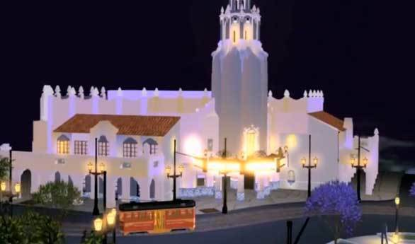 A digital rendering of the Carthay Circle Theater planned for Disney California Adventure.