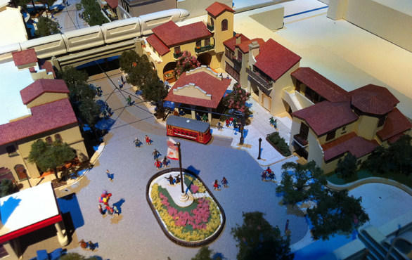 A look at the area between the main entrance and the monorail track in a scale model of Buena Vista Street.