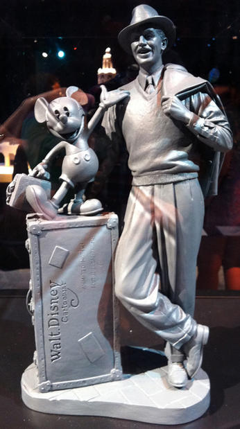 A maquette of the Walt and Mickey statue planned for Buena Vista Street at Disney California Adventure