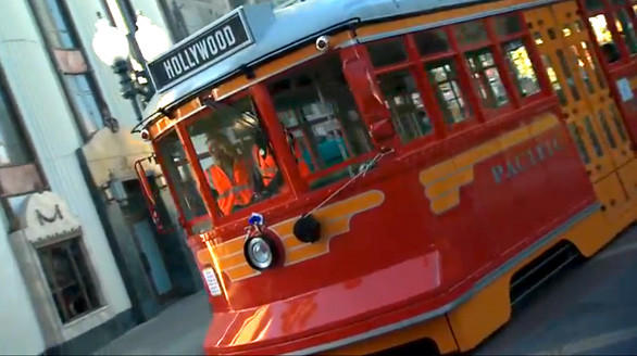 A Red Car Trolley plies the Hollywoodland section of Disney California Adventure during a pre-opening test run.