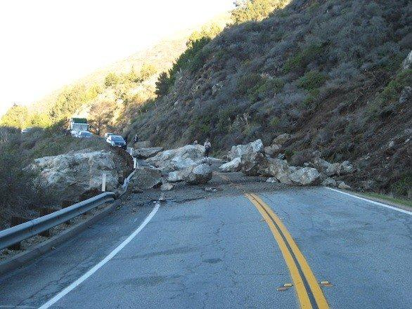 Debris from the rock slide has blocked traffic through Big Sur since Sunday.