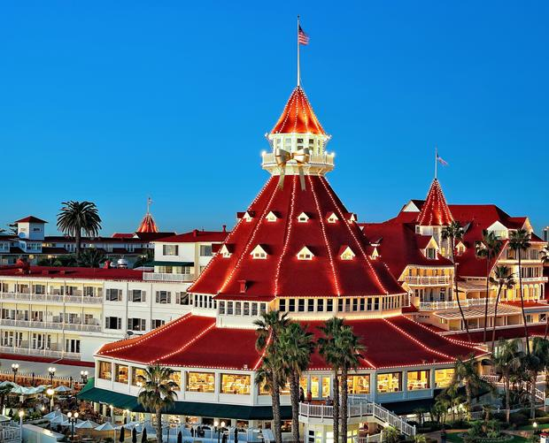 The Hotel del Coronado salutes its 125 years of hospitality with a gold bow on its landmark turret.