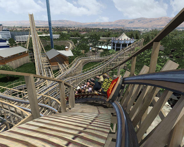 "The Gold Striker wooden coaster at California's Great America will feature several high-banked turns, including an 80-degree ""Midway Curve."""