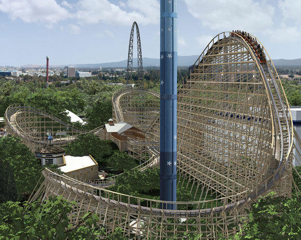 The Gold Striker wooden coaster will climb to the top of a 108-foot-tall lift hill before descending down a twisting first drop at California's Great America.