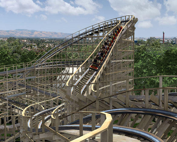 The Gold Striker wooden coaster will include terrain-hugging S-turns when it debuts at California's Great America.