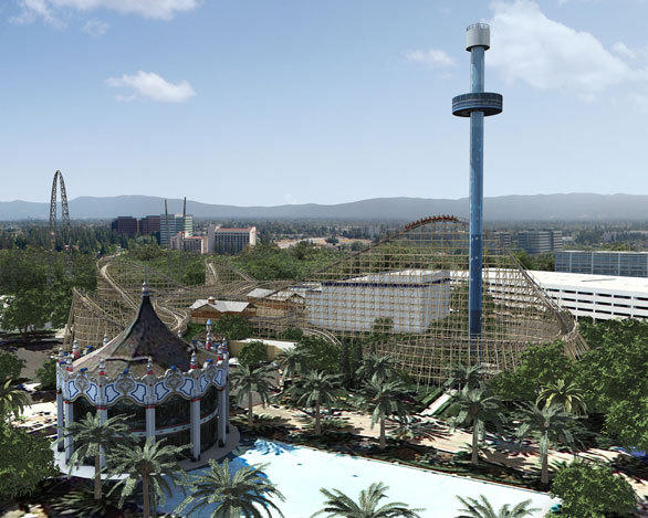 The Gold Striker wooden coaster will be located in Celebration Plaza near the Carousel Columbia at California's Great America.