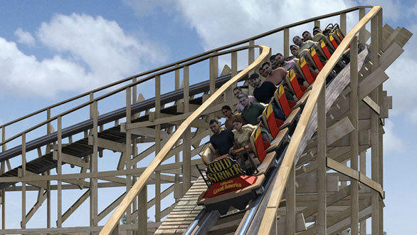 The Gold Striker wooden coaster at California's Great America will reach speeds topping 50 mph aboard Millennium Flyer trains.