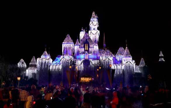 As always, Disneyland is decked out for the holidays with seasonal lighting on Sleeping Beauty Castle.