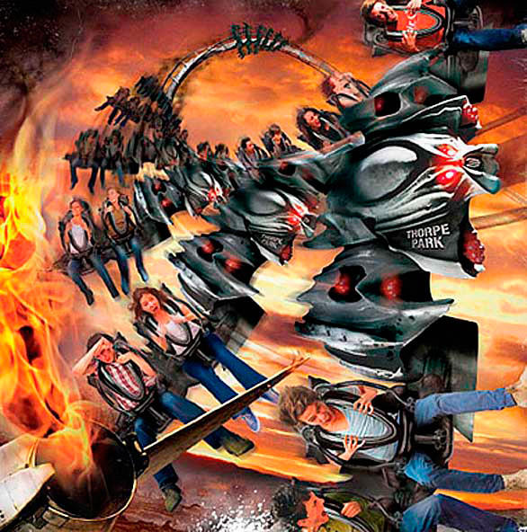 Concept art of the Swarm winged roller coaster built by B&M at England's Thorpe Park.