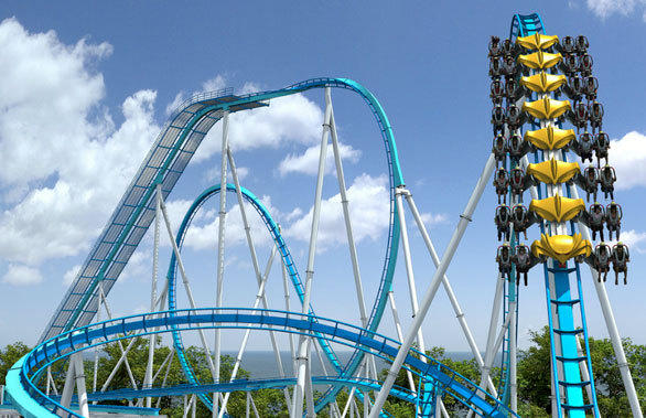 Riders sit on either side of the track in a winged formation on the Swiss-based Bolliger & Mabillard Wing Rider coaster.
