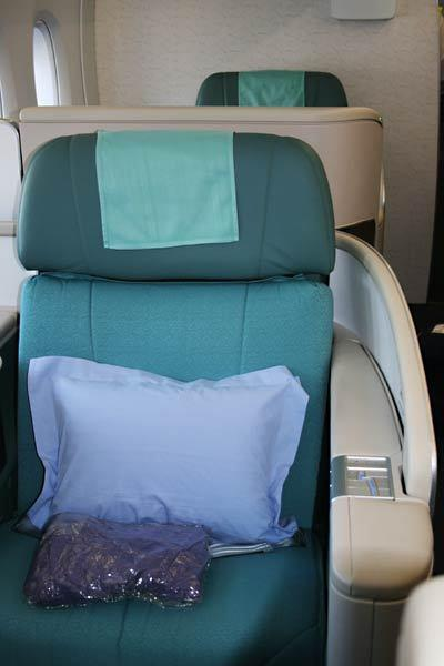 <i>First class</i><br> <br> Korean Air's A380 accommodates 12 passengers in first class. Seats are over six and a half feet long and over two feet wide. The viewing monitors in this class are 23-inches, and each passenger has access to a BOSE headset.