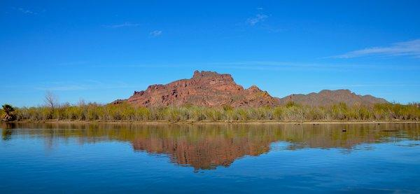 Sure, it's a desert. But there's kayaking on the Lower Salt River, below Saguaro Lake, outside Scottsdale. On a sunny day, you get nice red rock reflections. Taken in early 2012.