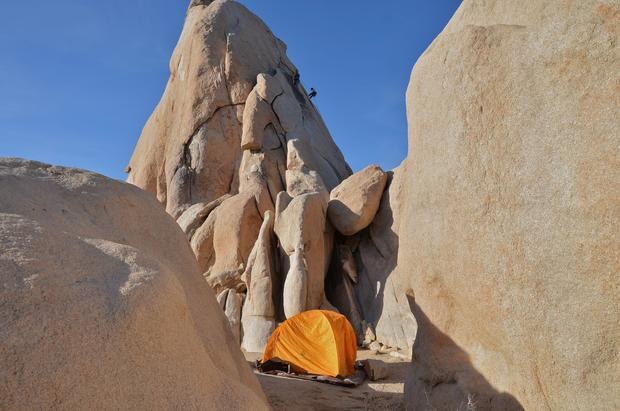 I wouldn't want to wake up in this yellow tent during an earthquake, but Hidden Valley is one of the most popular rock-climbing and camping areas in Joshua Tree National Park. Shot in 2012.