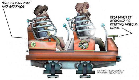 Concept art of the roller coaster trains for Goofy's Sky School at Disney California Adventure.