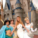 """Single Ladies"" singer Beyonce Knowles looks like a princess beside Jasmine, Belle and Cinderella at the Magic Kingdom."