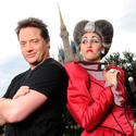 """The Mummy"" actor Brendan Fraser scowls next to Cinderella's wicked stepmother at the Magic Kingdom."