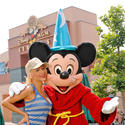 Singer Christina Aguilera goes incognito with Sorcerer Mickey at the former Disney-MGM Studios.