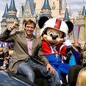 New Orleans Saints quarterback Drew Brees celebrates his Super Bowl win with a sporty Mickey at the Magic Kingdom.