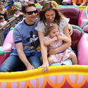 NASCAR racing champ Jeff Gordon takes a spin on the Magic Carpets of Aladdin ride at the Magic Kingdom.