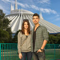 "Jonas Brothers singer Joe Jonas and ""Twilight"" star Ashley Greene at Space Mountain at the Magic Kingdom."