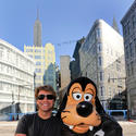 Rocker Jon Bon Jovi looks tough with a leather clad Goofy at Disney's Hollywood Studios.