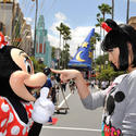 """Teenage Dream"" singer Katy Perry strikes a playful pose with Minnie Mouse at Disney's Hollywood Studios."