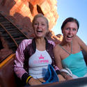 Celebutante Paris Hilton rides Big Thunder Mountain with sister, Nicky at the Magic Kingdom.