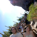 """Green Hornet"" star Seth Rogan rides on Expedition Everest roller coaster at Disney's Animal Kingdom."