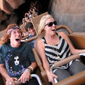 Olympic snowboarder Sean White screams for joy on Expedition Everest roller coaster at Disney's Animal Kingdom.