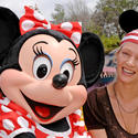 """Kill Bill"" actress Uma Thurman sports a pirate's headscarf with Minnie Mouse."