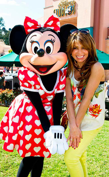 "Former ""American Idol"" and ""X Factor"" judge Paula Abdul spent Valentine's Day at Disney's Hollywood Studios with Minnie Mouse."