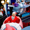 Singer Christina Aguilera screams for joy on Dumbo the Flying Elephant at Disneyland.