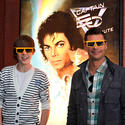 "Pop singer Justin Bieber and ""American Idol"" host Ryan Seacrest don 3D glasses for Michael Jackson's ""Captain EO"" at Disneyland."