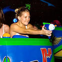 Actress Kate Hudson blasts aliens on Buzz Lightyear Astro Blasters ride at Disneyland.