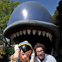 """Green Hornet"" star Seth Rogen cruises on the Storybook Land Canal Boats with Pinocchio at Disneyland."