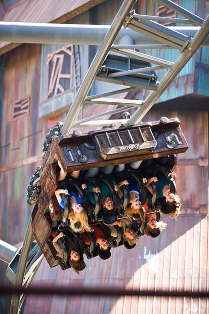 The indoor-outdoor coaster was the first Gerstlauer Eurofighter in the U.S. when the ride opened in 2007. Themed as a long-abandoned haunted coalmine, the special effects-laden ride features two vertical lifts and steep 95-degree drop.