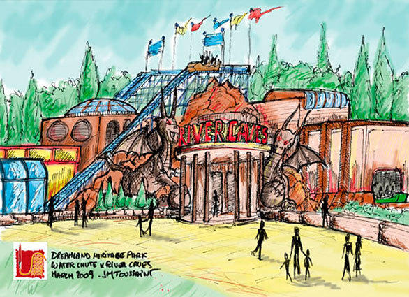 Concept art of the entrance to the River Caves water ride scheduled to open in 2013 at Dreamland Margate in England.