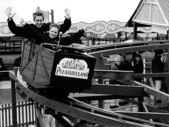 The wooden Wild Mouse coaster gives the sensation that the white-knuckle ride will fly off the track during each turn because the wheels are positioned near the rear of the car. Built in 1960 at Morecambe Pleasure Park in northwest England, the coaster was relocated to Pleasureland Southport in 1999. Only two wooden Wild Mouse coasters survive in the UK, with the other at Blackpool Pleasure Beach.