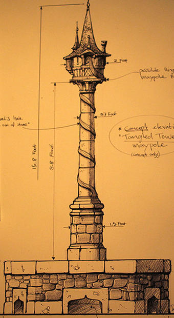 An artist sketch of Rapunzel's tower, which will stand at the center of the Fantasy Faire public square at Disneyland.