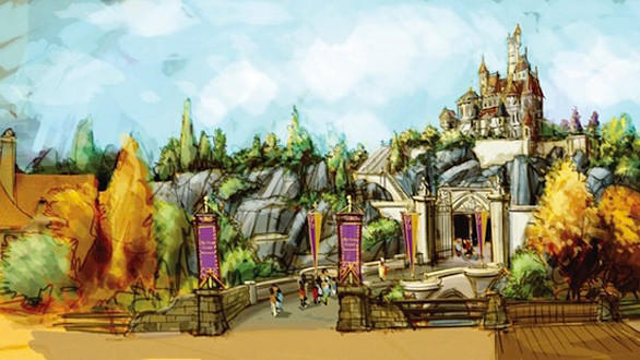 Concept art of the Beast's castle off in the distance at the new Fantasyland planned for the Magic Kingdom in Florida.