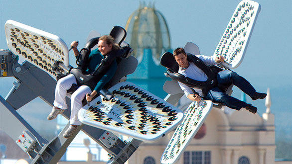 Sky Fly is based on an existing Gerstlauer ride known as the Sky Roller, which premiered at Belantis Leipzig in Germany.