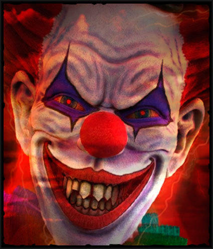In the Jokester's Hideout 3D maze, sideshow clowns run amok during Fright Fest 2012 at Six Flags Magic Mountain.