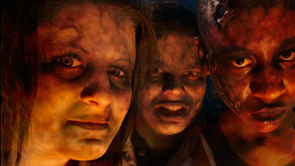 In the Hillbilly Massacre scare zone, a demonic backwoods family hunts for human skin during Fright Fest 2012 at Six Flags Magic Mountain.